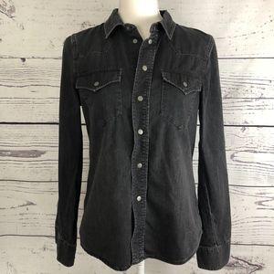 MADEWELL Western Black Denim Button Down Shirt M